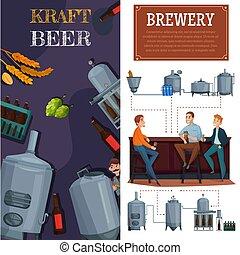 bandiere, produzione, birra, verticale, cartone animato