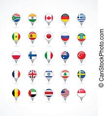 bandiere, puntatore, navigazione, mondo, icone