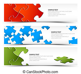 bandiere, puzzle, set, orizzontale