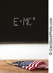 bandiere, scuola, posa, americano, scrivania