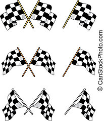 bandiere, set, da corsa, checkered