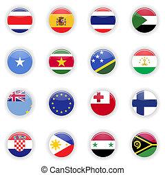 bandiere, set, di, mondo