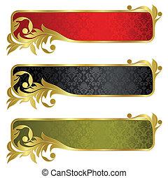 bandiere, set, oro