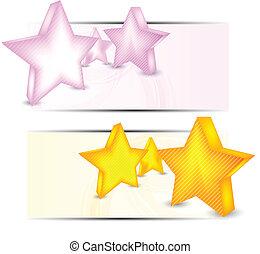 bandiere, set, stelle