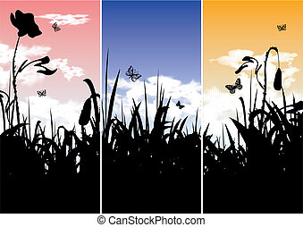 bandiere, set, -, tre, natura