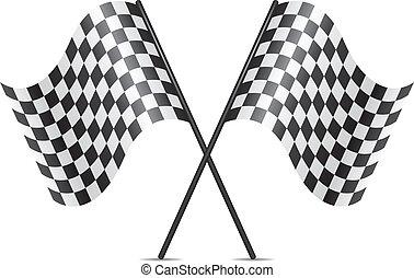 bandiere, simbolo, vettore, attraversato, da corsa