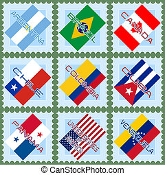 bandiere, sud, paesi