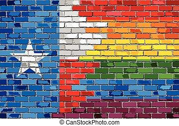 bandiere, texas, gaio, parete, mattone
