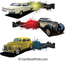 bandiere, vecchio, automobile., vettore, tre