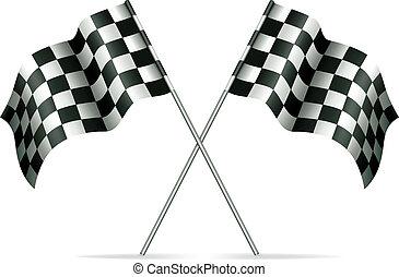 bandiere, vettore, da corsa