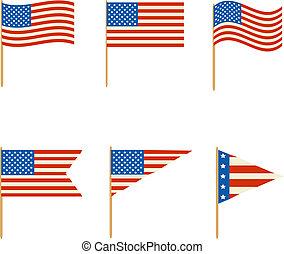 bandiere, vettore, set