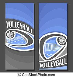 bandiere, vettore, verticale, pallavolo