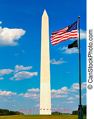 bandiere, washington dc, stati uniti, monumento
