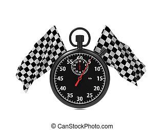 bandierina checkered, con, stopwatch.