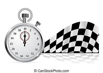 bandierina checkered, con, uno, cronometro