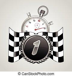 bandierina checkered, con, uno, cronometro, fondo