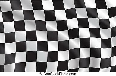 bandierina checkered, macchina correndo, sport
