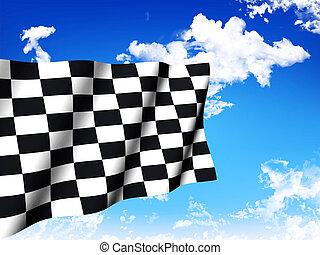 bandierina checkered, sopra, uno, cielo, fondo