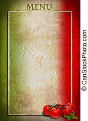 bandierina italiana, con, pomodori, e, cornice