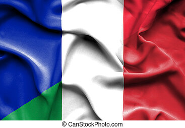 bandierina ondeggiamento, italia, francia