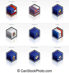 bandierine stati uniti, icone, set, -, disegni elementi, 58b