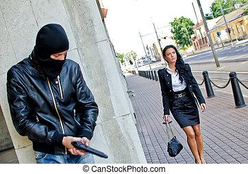 bandiet, wachten, masker, geweer, slachtoffer