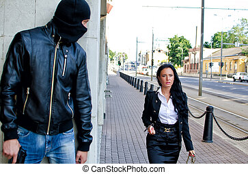 bandit, attente, masque, fusil, victime