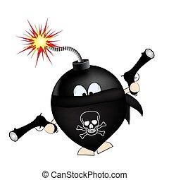 bandit., bomba, illustration., caricatura, vector