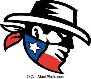 bandit, cow-boy, retro, texas, côté