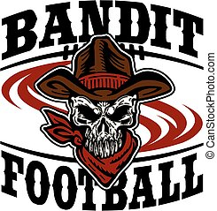 bandit football team design with cowboy skull for school,...
