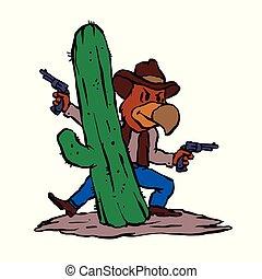Bandit hawk cowboy cartoon