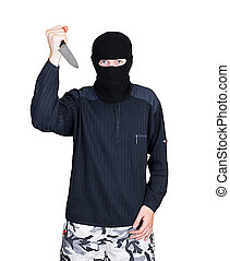 Bandit in black mask with knife