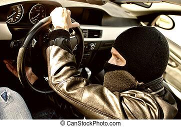 bandit, in, maskera, stöld, a, bil., tillsluta