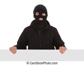 bandit, schwarz, maske, karte, leer