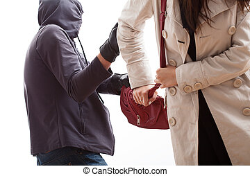 Bandit snatching a purse from a young woman