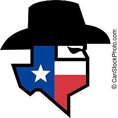Bandit Texas Flag Icon - Icon style illustration of head of ...