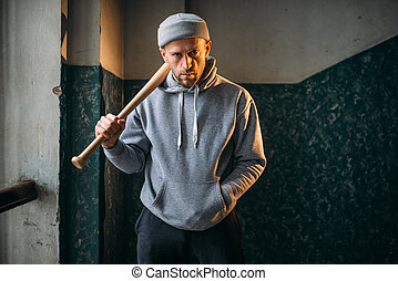 Bandit with baseball bat standing in the entrance