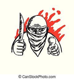 bandita, kérdez, helyett, pénz, noha, vér, háttér