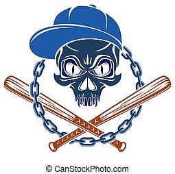 bandito, emblema, disegno, gangster, stile, aggressivo, baseball, theme., vendemmia, vettore, o, elementi, criminale, pipistrelli, anarchia, mafia, logotipo, cranio, tatuaggio, ghetto