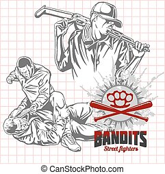 Bandits and hooligans - criminal nightlife. Vector illustration.
