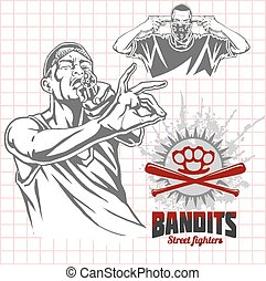 Bandits and hooligans - criminal nightlife. Vector ...
