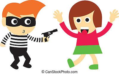 Bandits are robbing vector cartoon style