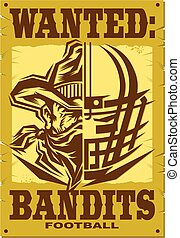 bandits football team design with half helmet, half mascot...