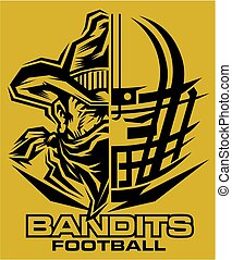 bandits football team design with helmet and half mascot for...