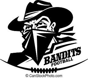 bandits football team design with mascot head for school, ...