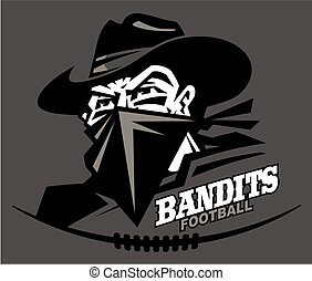 bandits football team design with mascot head for school, ...