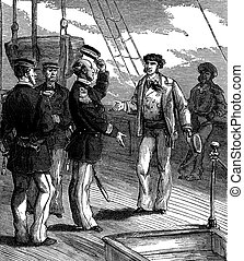 Bandits of the sea. He stopped with a respectful attitude, vintage engraving.