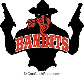 bandits silhouette - bandits logo team design with cowboy...