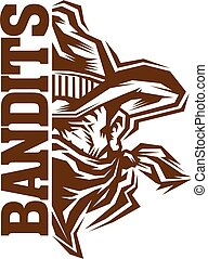 bandits team design with half mascot cowboy face with ...