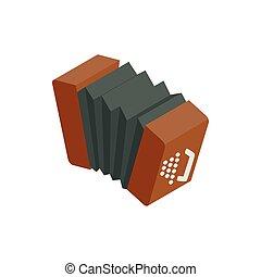 Bandoneon accordion icon, isometric 3d style